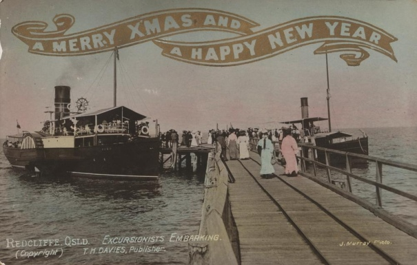 Christmas greetings featuring passengers boarding a Steamer at Redcliffe,  Photographer: Murray, J.
