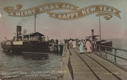 Christmas greeting card featuring Sutton's Beach, Redcliffe, Photographer: Murray, J.