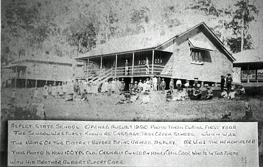 Aspley School, 1890. This photo was originally owned by Henry Cecil Carr, who is in this photo with his brother Albert Rupert Carr.