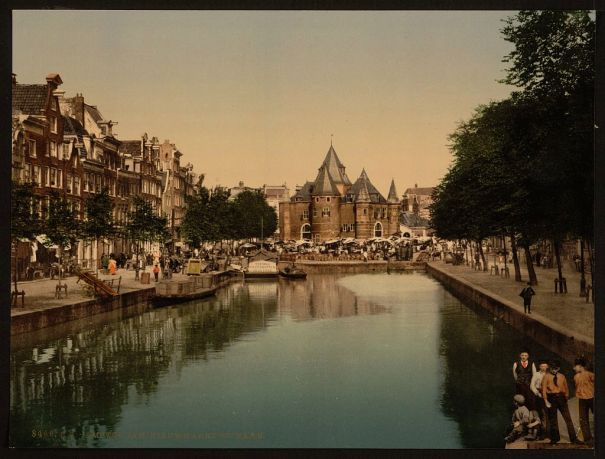 The new market and bourse (i.e. weighing house), Amsterdam, Holland