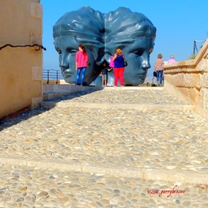 Quad heads sculpture - Marseille has been transformed as the 2013 European Capital of Culture & the opening of the J4 group of museums & galleries right on the sea front.