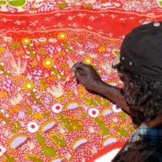 Painting in the desert dunes near Wattaru