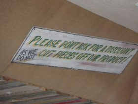 Sign on the ceiling