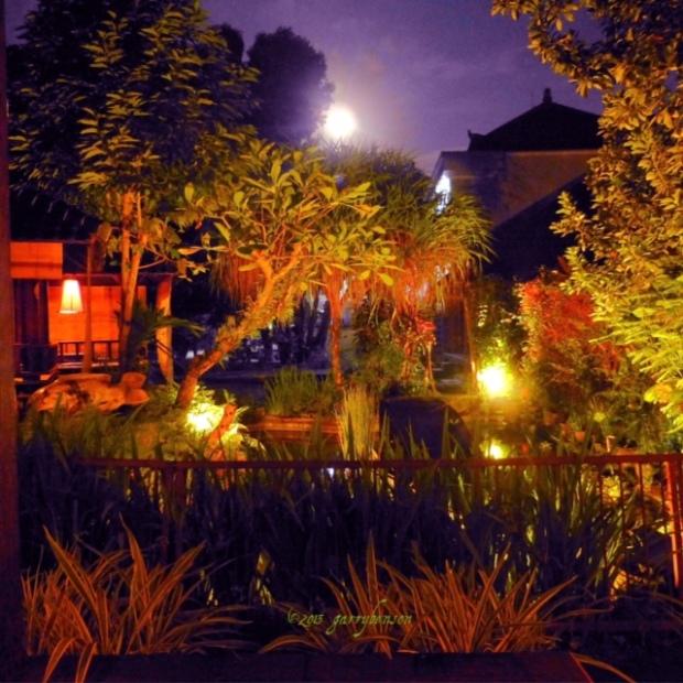 Ryoshi Japanese Garden + moonrise, Ubud, Bali, Photo: © Garry Benson 2014