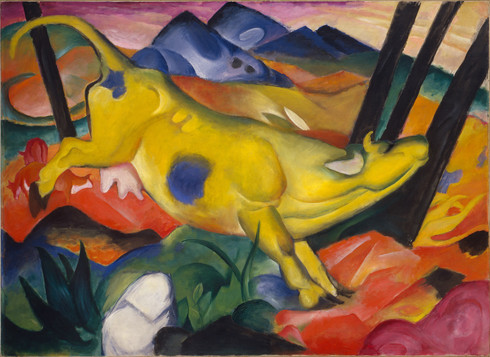 Yellow Cow (Gelbe Kuh), 1911. Oil on canvas, 55 3/8 × 74 1/2 inches (140.5 × 189.2 cm). Solomon R. Guggenheim Museum, New York, Solomon R. Guggenheim Founding Collection