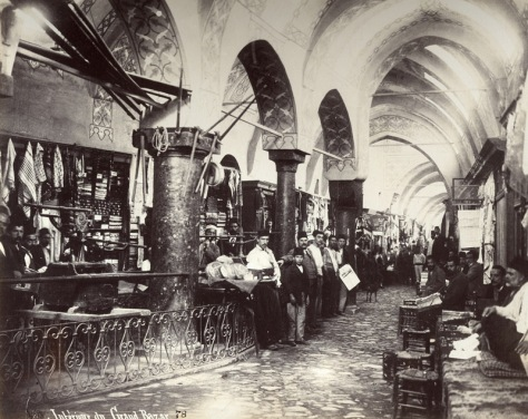 The interior of the Grand Bazaar in the 1890s, by Ottoman photographer Sébah.