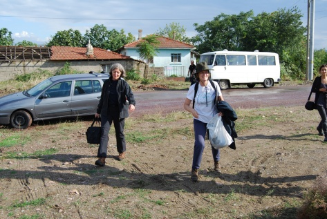 All ready to set out: Donna and Caro arrive at Hersek camp, 21 September 2009.