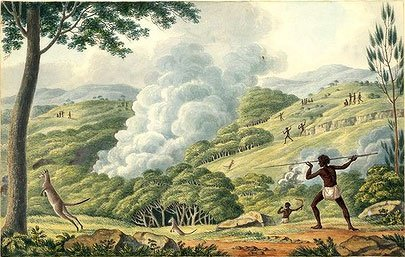 """Cover Image, The Biggest Estate on Earth<br /> Joseph Lycett """"Aborigines using Fire to Hunt Kangaroos"""" Watercolour, c1820"""