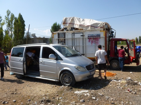 20 August: Parked by a water pump outside Çiftlik