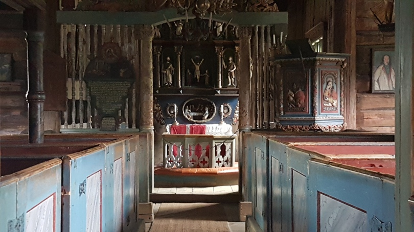 Inside the stave chrch, Lillehammer, Photo by Tracey M Benson ©